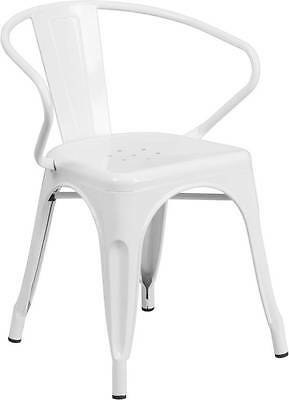 White Indoor-Outdoor Restaurant Metal Dining Chair With Arms