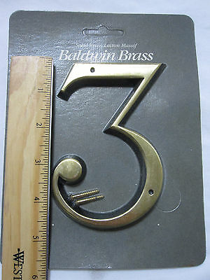 "Baldwin 90673-030 5"" House Number '3' POLISHED BRASS New in Package!"