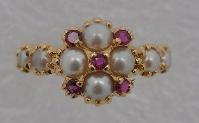 Georgian Style 15ct Gold Ruby and Pearl Cluster Cocktail Ring - Size Q