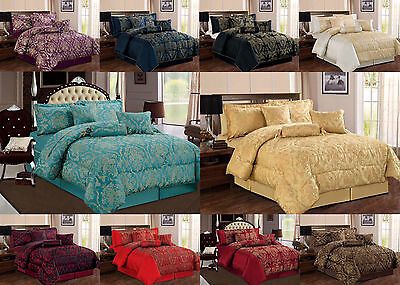 Luxury 7 Piece Damask Flock Quilted Bedspread Comforter Set with Matching Pillow