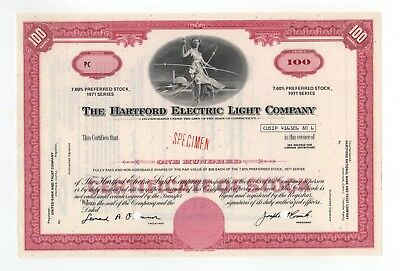 SPECIMEN - The Hartford Electric Light Company Stock Certificate