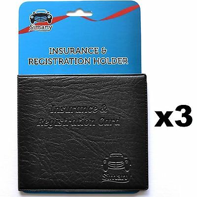 3 AUTO CAR TRUCK INSURANCE REGISTRATION CARD WALLET HOLDER Embossed Faux-Leather