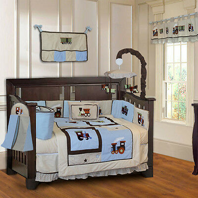 10 Piece Train Boys Blue Baby Crib Bedding (include musical MOBILE)