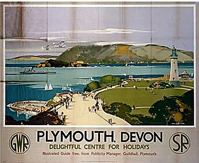 Plymouth Delightful Centre (old rail ad.) fridge magnet   (se)