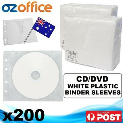 NEW Premium 200 x CD DVD Plastic Sleeves Covers WHITE Binder Sleeve Holds 400