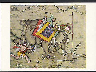 Victoria & Albert Museum Postcard - A Mughal Prince Spearing a Lioness LC5137
