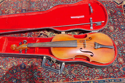Retroflashbacks Antique Violin 4/4 Full Size C1900 With Case And Bow Fiddle