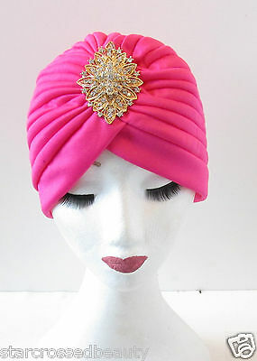Hot Pink Gold Turban Vintage Flapper 1920s Headpiece Diamante Great Gatsby Q23