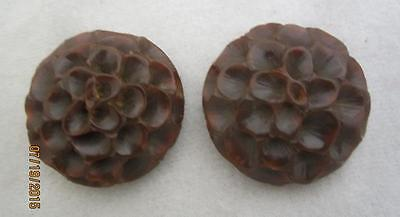 Vintage Retro 1940S Chocolate Carved Honeycomb Petals Round Dress Clips
