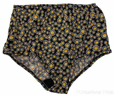 Womens The Original Fancy Pants Tennis Black Daisies Double Ball Pocket Panty