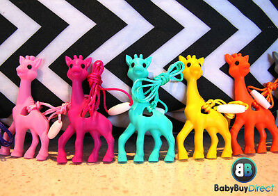 Giraffe Silicone Necklace Teether Toy Chew Popular (10 colours)