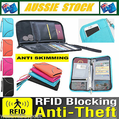 RFID Safe Large Travel Passport Credit Card Wallet Pouch Black Blue Pink Orange