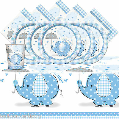 Boy's Blue CUTE ELEPHANT Baby Shower Party Complete Tableware Pack Kit For 16