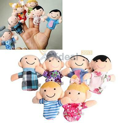 6Pcs Family Finger Puppets Cloth Doll Baby Educational Hand Toy Story Kid Hot