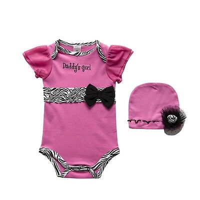 2pcs Infant Baby Newborn Girl Hat+Romper Jumpsuit Playsuit Clothes Hot Pink