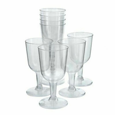 Disposable Wine Goblets Glass CLEAR Plastic Outdoor Party Picnic Drink Cocktail
