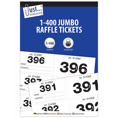 1 - 400 Jumbo Cloackroom & Raffle Tickets Tombola Numbered Security Coded-8003