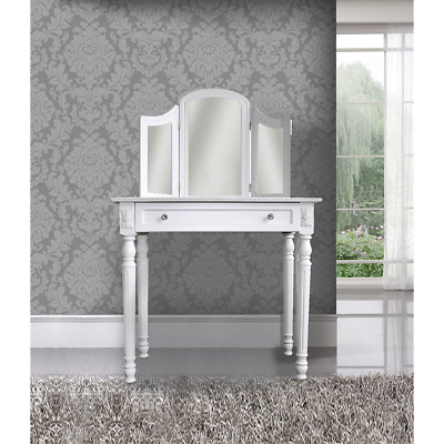 Mobili Rebecca® Dressing Table Vanity Table 1 Drawer 3 Mirrors White Classic