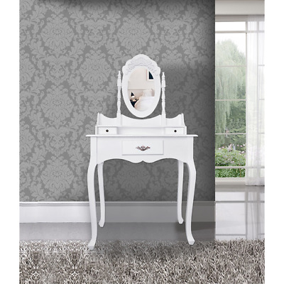 Mobili Rebecca® Dressing Table Vanity White Wood 3 Drawers Mirror French Bedroom