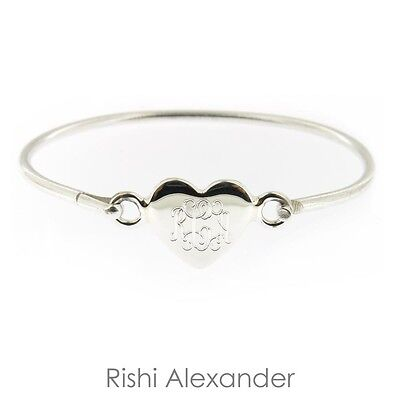 Monogrammed 925 Sterling Silver Hinged Heart Baby Bracelet Personalized Engraved