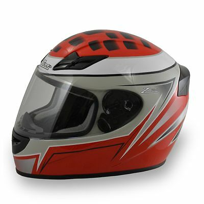 Zamp FS-6 Motorcycle Karting Helmet, Silver/Gloss Red, XLarge
