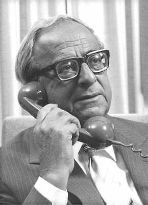 Vintage photo of Yitzhak Navon talking on phone.  - David Rubinger