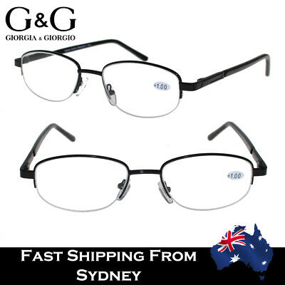 Mens Womens Reading Glasses Fashion Black Half Frame Spring Loaded+1.0 to 3.5
