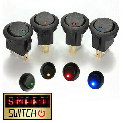 SmartSwitch 12V LED/Light Round Rocker ON/OFF Switch for Car/Van/Dash/Boat BLACK