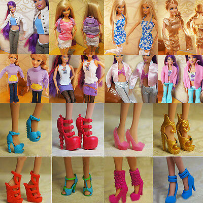 40 Pairs fashion princess sandals boots Shoes for Barbie doll Clothes Accessorie