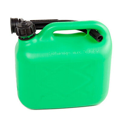 Plastic Petrol & Diesel Fuel Can with Spout Green 5L