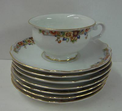 Paul Muller THE AUTUMN Set of EIGHT ITEMS Cup & Saucers