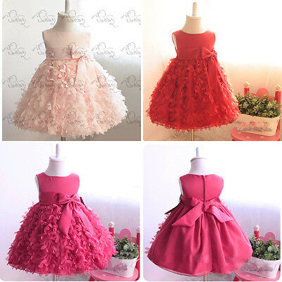 Kids Baby Flower Girl Princess Party Pageant Wedding Bridesmaid Tutu Gown Dress