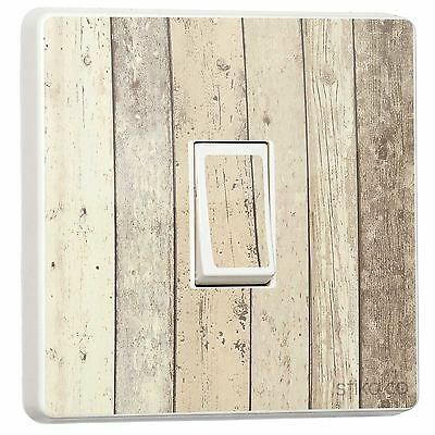 Rustic Shoreline Timber Cladding Wood Effect Light Switch Sticker [Single]
