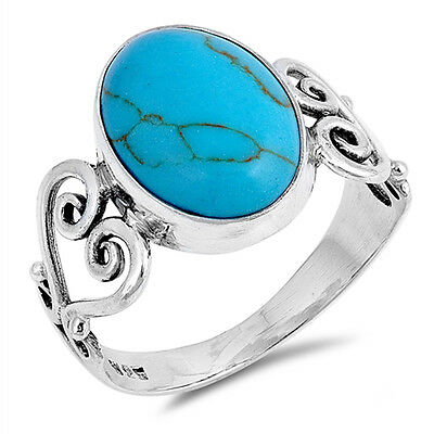 Turquoise Oval Cut Filigree Heart Sterling Silver Ring