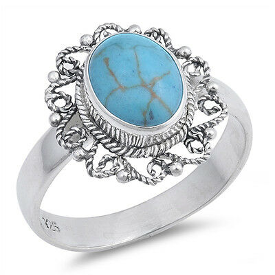Turquoise Rope Design Genuine Sterling Silver Ring