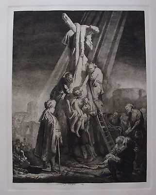 """REMBRANDT """"THE DESCENT FROM THE CROSS"""" Amand Durand Plate Signed Etching"""
