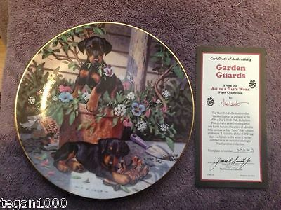 """Hamilton Collection, All in a Day's Work, Garden Guards, 8"""" plate 1994"""