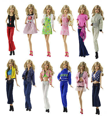 5 PCS Different Style Fashion Handmade Clothes/Outfit+10 Shoes For 11.5in.Doll