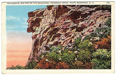 Old Man of the Mountain, Franconia Notch, White Mts. NH, linen postcard