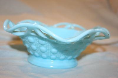 Imperial Glass Blue Lacy Edge Bowl Raised Button  Ig