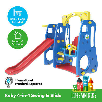 New 4 in 1 Baby Swing Slide And Basketball Set Indoor & Outdoor Lifespan Ruby