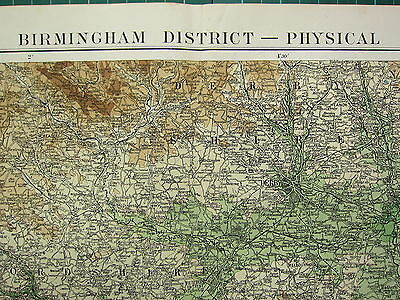 1919 Large Map ~ Birmingham District ~ Physical Warwickshire Staffordshire
