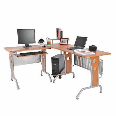 HomCom L-shaped Computer Workstation Corner Desk CPU Stand Student Home Office