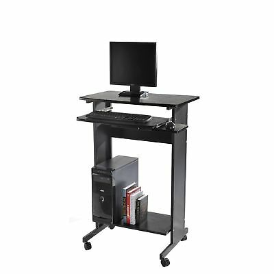 HomCom Stand Up Computer Workstation Desk Student Office Laptop Stand Casters