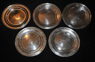S. Kirk & Son Sterling Silver Dessert Bread Plates Dishes Set of 5 (485 grams)