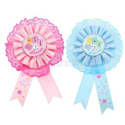 1x Party Decor Pin Badge Baby Shower Award Ribbon Kids Boy Girl Favors Pink/Blue