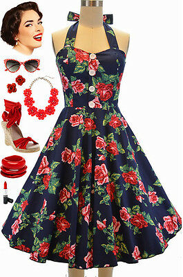c263adc0dbd 50s Style Miss Mabel NAVY   RED ROSE FLORAL Pinup HALTER Sun Dress with  BUTTONS