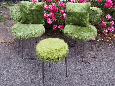 So Funky & Retro Vintage Mid Century Hair Pin Leg Stool & Chair Set Green Fluffy