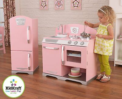 Vintage Play Kitchen Pretend Play Imagination Fridge Oven Cook Pink Wooden NEW