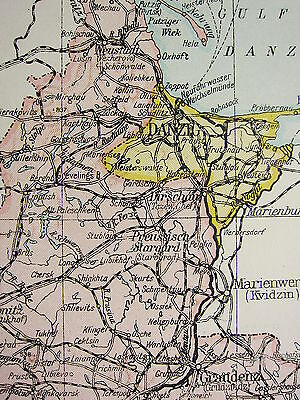 1919 Large Map ~ Poland ~ Warsaw Danzig Cracow